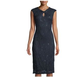 Navy Sequin Lace Cocktail Dress size 10 NWT
